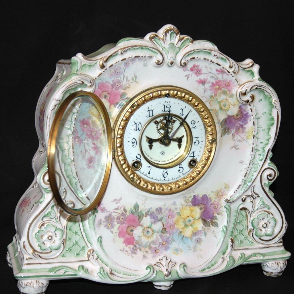 Antique Ansonia Royal Bonn Porcelain Mantel Clock Sold On Ruby Lane