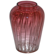 Art Glass Ribbed Panels Ruby to Clear Crystal Vase