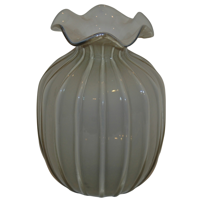 Gray Topaz Color Cased Art Glass Vase
