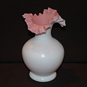 Art Glass Ruffled Top Cased Vase