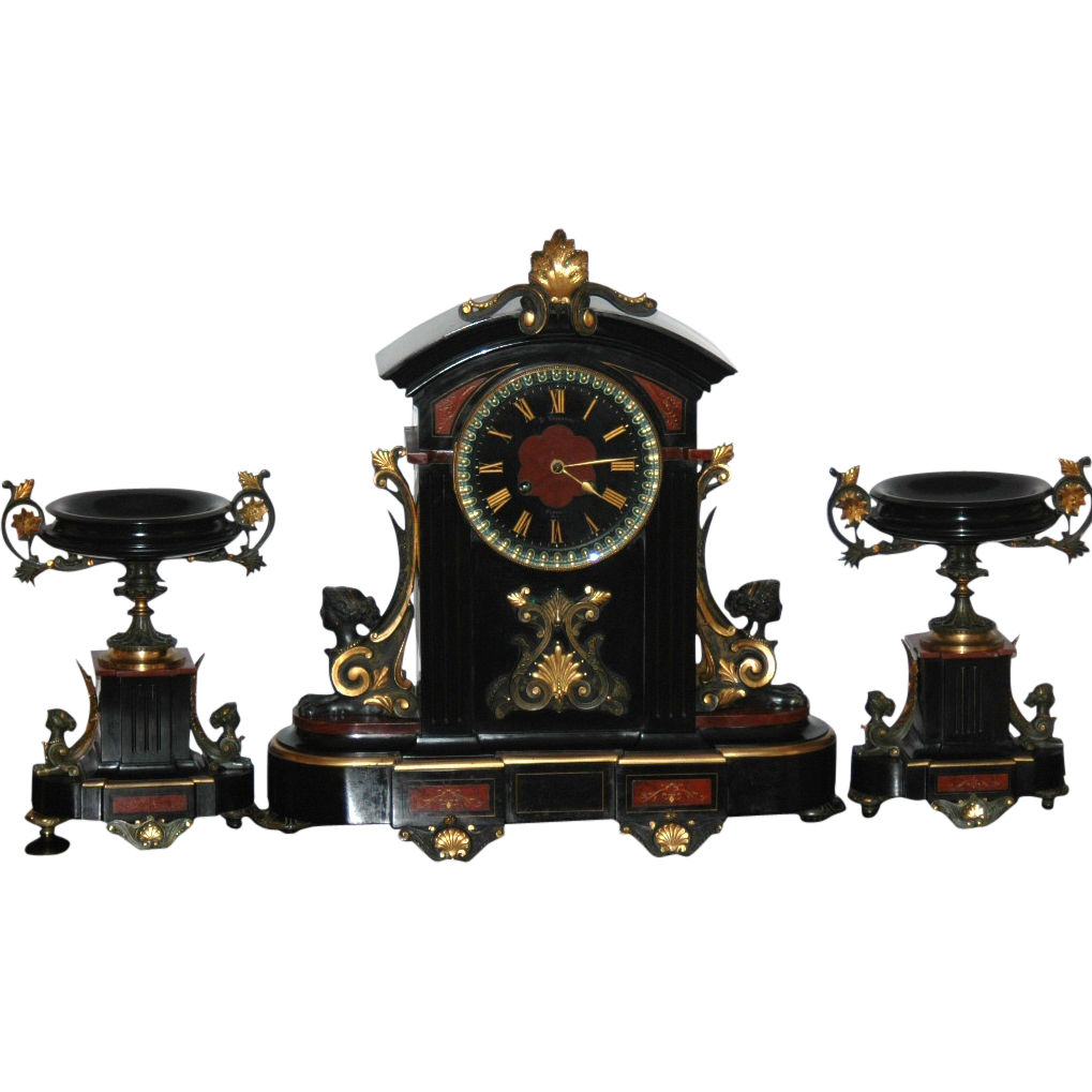 Antique French Black Marble 3 Piece Clock Garniture Set