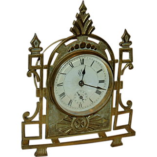 E.N.Welch Cast Brass Novelty Alarm Clock