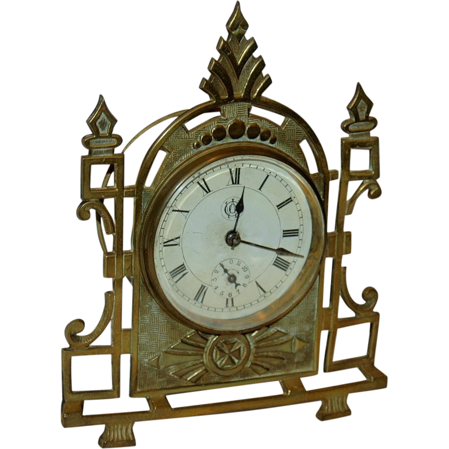 E.N.Welch Cast Brass Novelty Alarm Clock