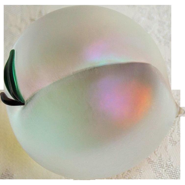 Zellique Art Glass Iridescent Peach Paperweight