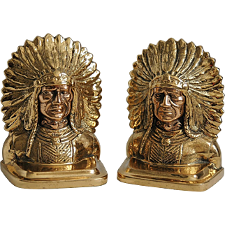 Vintage Cast Brass Copper Bookends American Indian Chief