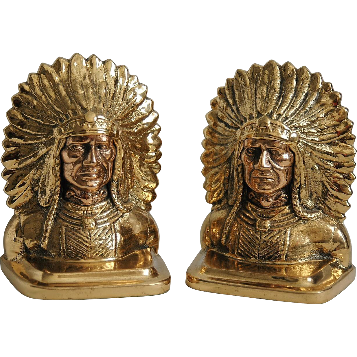 Vintage cast brass copper bookends american indian chief from vrantiques on ruby lane - Antique brass bookends ...