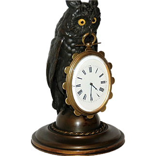 Antique Bronze Owl Desk Timepiece