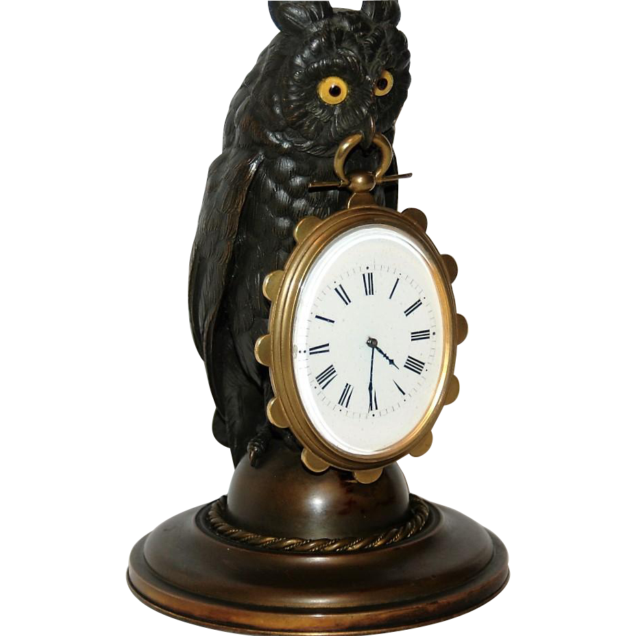 Antique Bronze Owl Desk Timepiece