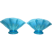 Fenton Blue Opalescent Fan Vases