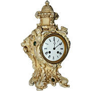 Antique French Porcelain Figural Mantel Clock