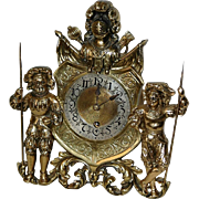 Antique German Brass Figural Mantel Clock