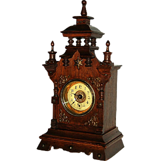 Antique German Small Mantel Clock with Alarm