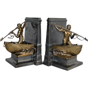 Jennings Brothers Art Metal Bookends Whaleman