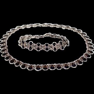 Vintage Danish Necklace and Bracelet by Volmer Bahner Silver Black Enamel
