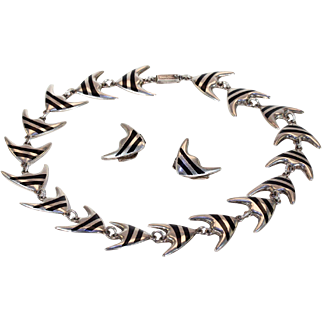 Vintage Black Enamel Silver Necklace Earrings Meka Angel Fish Set