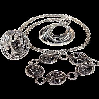 Vintage Sten & Karl Laine Spider Web Bracelet Necklace Ring Set Silver