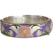 Vintage Floral Patterened Enameled Sterling Silver Bangle for Harrods, Birmingham 1971
