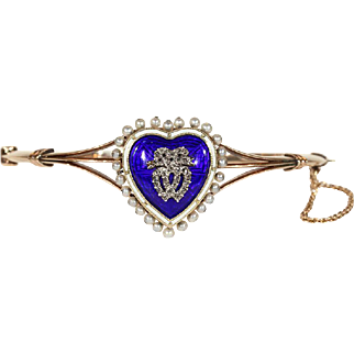 Fabulous Antique Victorian Bangle, Converts to Pendant, with Enameled Heart, Diamonds and Pearls