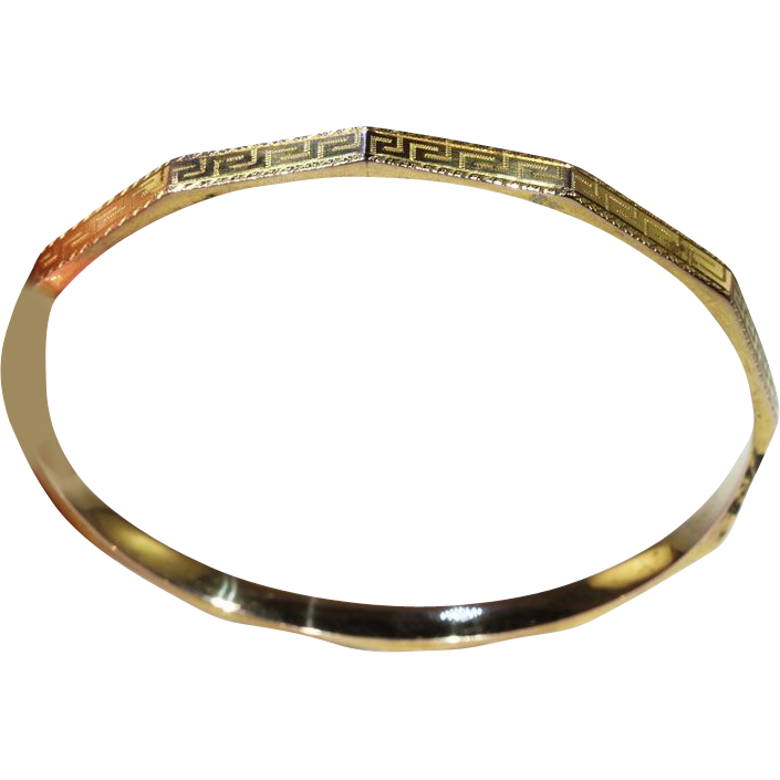Bracelets The Deco Haus Tagged Gold: Art Deco Stacking Bangle Bracelet With Greek Key Motif, 9k