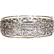 Antique French Pierced Silver and Gold Bangle