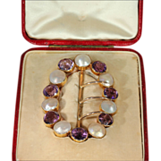 Antique Arts & Crafts Era Buckle or Sash Pin, 15k Gold with Amethyst and Blister Pearl