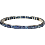 Stunning Platinum Art Deco Sapphire Eternity Bangle Bracelet, 24 ctw