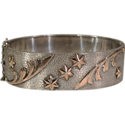Superb Victorian Silver Bangle with Gold Star and Scroll Design