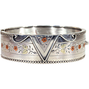 Floral 3-Tone Silver Victorian Bangle Bracelet Cuff, Hallmarked 1884