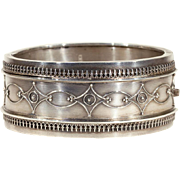 Antique Victorian Silver Bangle Bracelet, Hallmarked 1882