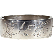 Victorian Silver Bangle Bracelet Bird Motif Sterling Cuff