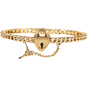 Antique Love Knot Bangle with Working Key and Lock, 15k Gold, Dated 1892