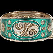 Midcentury Modern Green Enamel Bangle Bracelet Silver