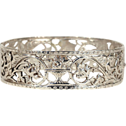 Antique European Silver Bangle, Pierced Pattern
