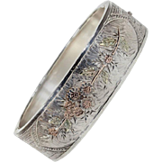 Victorian Three-Tone Silver Bangle Floral Motif