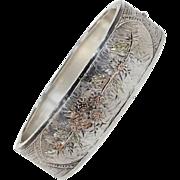 Victorian Three-Tone Silver Bangle Floral Motif
