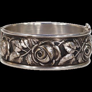 Antique French Repousséd Rose and Vine Bangle Bracelet