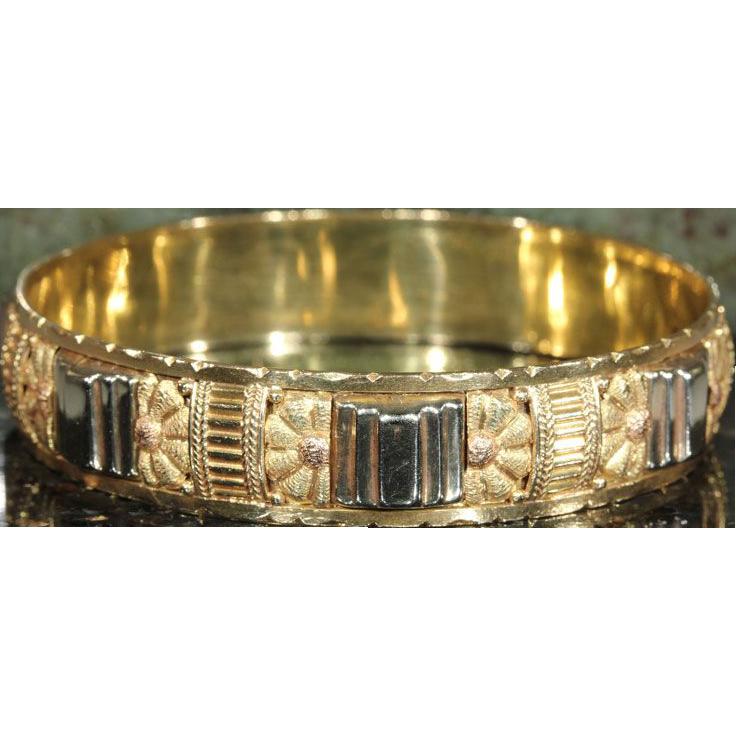 Superb Art Deco Bangle Bracelet, French 3 Tone 18k Gold