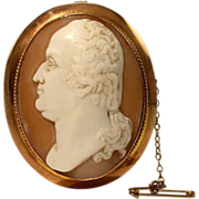 Rare Antique Victorian George Washington Shell Cameo Brooch Pin in 9k Gold Frame