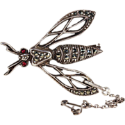 Vintage Art Deco Wasp Brooch Pin with Sparkling Marcasite Gems, French 1920s