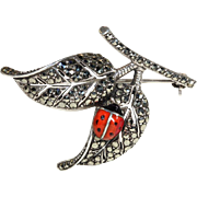 Vintage Leaf and Ladybug Silver Art Deco Marcasite Brooch Pin