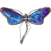 Vintage Morpho Wing Dragonfly Brooch Pin in Sterling Silver and Rock Crystal