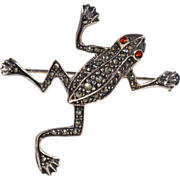Silver Art Deco Frog Brooch Pin set wtih Marcasite and Paste c.1930