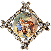Antique Enamel and Silver Brooch showing Ladies at a Well