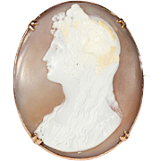 Antique Shell Cameo Brooch of Lady with Grapes in 9k Gold Frame, English Pin, c. 1850