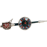 Antique Scottish Pebble Agate and Bloodstone Sword and Shield Brooch Pin, Victorian c. 1880