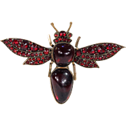 Antique Victorian Garnet Bee Bug Brooch Pin