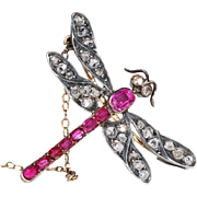 Art Nouveau French Ruby Diamond Dragonfly Brooch