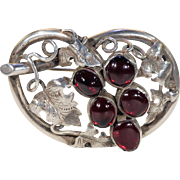 Antique Victorian Silver Garnet Brooch Pin Grapes