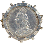 Victorian Golden Jubilee 1887 Coin in 1885 Sterling Brooch Pin, Removable