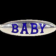 Antique Charles Horner Silver and Enamel 'Baby' Brooch Pin, Cobalt Blue